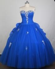 Elegant Ball Gown Sweetheart Neck Floor-length Blue Quinceanera Dress LZ426005