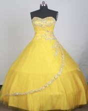 Elegant Ball Gown Sweetheart Neck Floor-length Yellow Quinceanera Dress LZ426046