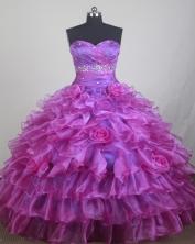 Elegant Ball Gown Sweetheart Neck Floor-length fuchsia Quinceanera Dress LZ426043