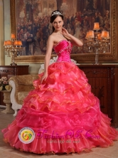 Elegant Hot Pink Quinceanera Dress Sweetheart Beaded Decorate Bodice Taffeta and Organza Ball Gown For 2013 Patalillo Costa Rica Style QDZY326FOR