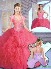 Elegant Ruffles and Sequins Quinceanera Gowns in Coral Red SJQDDT154002-1FOR