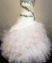Elegant ball gown strapless floor-length organza white appliques with green quinceanera dresses FA-X-101