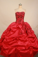 Elegant ball gown sweetheart-neck floor-length red beading quinceanera dresses FA-X-067