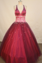 Exclusive Ball Gown Halter Top Floor-length Burgundy Taffeta Beading Quinceanera dress Style FA-L-17