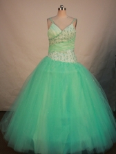 Pretty Ball Gown Strap Floor-length Apple Green Organza Beading Quinceanera dress Style FA-L-186