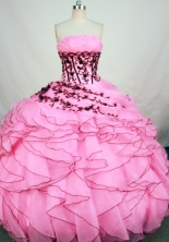 Exclusive Ball Gown Strapless Floor-length Baby Pink Organza Appliques Quinceanera Dress Style FA-L-163