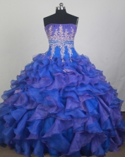 Exclusive Ball Gown Strapless Floor-length Blue Quinceanera Dress LZ426054