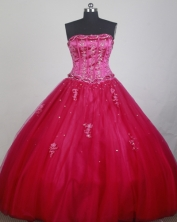 Exclusive Ball Gown Strapless Floor-length Red Quinceanera Dress LZ426050