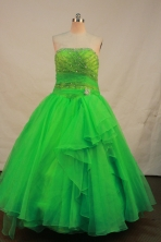 Pretty Ball Gown Strapless Floor-length Spring Green Organza Quinceanera dress Style LJ42469