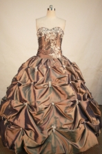 Exclusive Ball Gown Sweetheart Floor-length Brown Taffeta Appliques Quinceanera Dress Style FA-L- 185