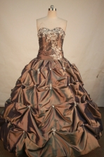 Exclusive Ball Gown Sweetheart Floor-length Brown Taffeta Appliques Quinceanera dress Style FA-L- 18