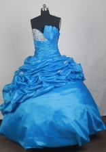 Exquisite Ball Gown Strapless Floor-length Baby Blue Quinceanera Dress LZ426038