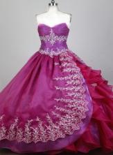 Exquisite Ball Gown Strapless Floor-length Magenta Quinceanera Dress X0426080