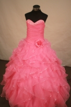 Exquisite Ball Gown Sweetheart Floor-length Rose Pink Organza Quinceanera dress Style LJ42461