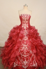 Exquisite ball gown strapless floor-length organza wine red embroidery quinceanera dresses with rolling flowers FA-X-077