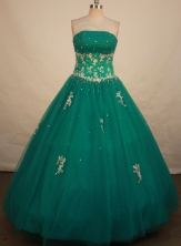 Fashionable Ball Gown Strapless Floor-length Dark Green Appliques Quinceanera dress Style FA-L-106