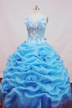 Fashionable Ball gown Strap Floor-length Organza Aqua Blue Quinceanera Dresses Style FA-C-119