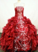 Gorgeous Ball Gown Floor-length Red Organza Embroidery Quinceanera Dress Style FA-L-109