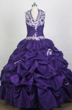 Gorgeous Ball Gown Halter Top Neck Floor-length Purple Quinceanera Dress LZ426083