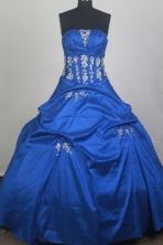 Gorgeous Ball Gown Strapless Floor-length Blue Quinceanera Dress LZ426068