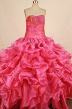 Gorgeous Ball Gown Strapless Floor-length Hot Pink Organza Appliques Quinceanera dress Style FA-L-331