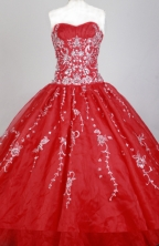 Gorgeous Ball Gown Strapless Floor-length Red Quinceanera Dress X0426066