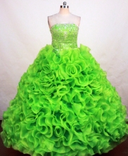 Gorgeous Ball Gown Strapless Floor-length Spring Green Organza Quinceanera Dress Style FA-L-105
