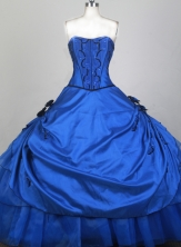 Inexpensive Ball Gown Strapless Floor-length Blue Quinceanera Dress X0426074
