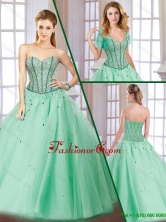 Latest Beading Lace Up Quinceanera Gowns with Sweetheart for 2016 SJQDDT171002FOR