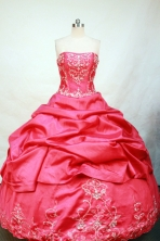 Luxurious Ball gown Strapless Floor-length Taffeta Embroidery Quinceanera Dresses Style FA-C-103
