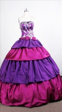 Modest Ball Gown Strapless Floor-length Taffeta Quinceanera Dresses Style FA-C-031