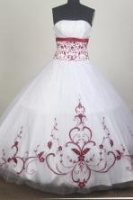 Modest Ball Gown Strapless Floor-length White Quinceanera Dress LZ426069