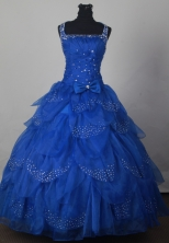 Modest Ball Gown Straps Floor-length Royal Blue Quinceanera Dress LJ2663