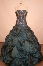 Modest Ball Gown Sweetheart Floor-length Hunter Green Taffeta Quinceanera dress Style LJ42475