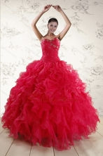 New Style Sweetheart Beading 2015 Quinceanera Dresses in Coral Red XFNAO293FOR
