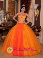 Orange Red Fantastic Quinceanera Dresses With V-neck With Spaghetti straps Consuelo Dominican Style QDZY714FOR