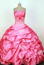 Perfect Ball Gown Strapless Floor-length Taffeta Appliques Quinceanera dress Style FA-L-287