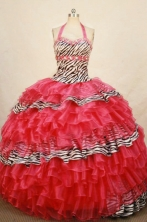 Popular Ball Gown Halter Top Floor-length Organza Quinceanera dress Style FA-L-322