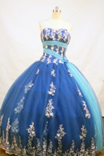 Popular Ball Gown Strapless Floor-length Blue Organza Appliques Quinceanera Dress Style FA-L-204
