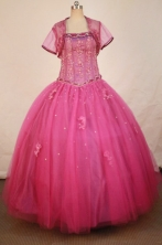 Popular Ball Gown Strapless Floor-length  Tulle Appliques Quinceanera dress Style FA-L-296