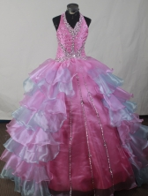 Pretty Ball Gown Halter Top Neck Floor-length Pink Quinceanera Dress LJ2602