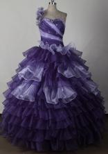 Pretty Ball Gown One Shoulder Neck Floor-length Quinceanera Dress LJ2641