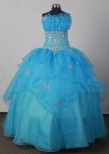 Pretty Ball Gown Strapless Floor-length Aqua Blue Quincenera Dresses TD26003