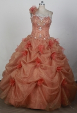 Pretty Ball Gown Strapless Floor-length Pink Quinceanera Dress X0426024