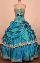 Pretty Ball Gown Strapless Floor-length Quinceanera Dresses Appliques Style FA-Z-0345
