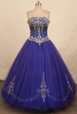 Pretty Ball Gown Strapless Floor-length Quinceanera Dresses Appliques with Beading Style FA-Z-0344