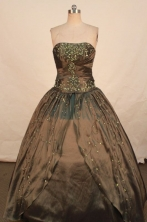 Pretty Ball Gown Strapless Floor-length Quinceanera Dresses Embroidery Style FA-Z-0343