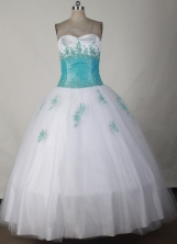 Pretty Ball Gown Strapless Floor-length White Quinceanera Dress LJ2652