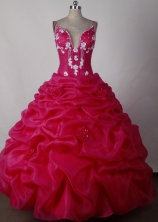 Pretty Ball Gown Straps Floor-length Hot Pink Quinceanera Dress LJ2642