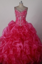 Pretty Ball Gown Straps Floor-length Hot Pink Quincenera Dresses TD260046